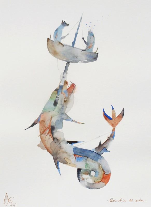 "ALEXIS LAGO, Asimetria del saber (Asymmetrical Knowledge), 2013, watercolor on paper, 15"" x 11"" Courtesy Couturier Gallery, Los Angeles"