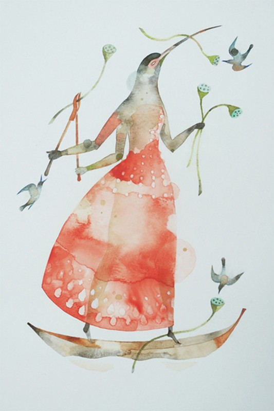 """ALEXIS LAGO, Sunday Morning, 2012, watercolor on paper, 15"""" x 10"""" Courtesy Couturier Gallery, Los Angeles"""