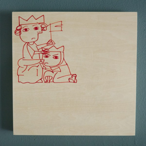 "Lucie Fontaine, ""Servant? Slave? Master"", 2012  10"" x 10"" Drawing on wood"