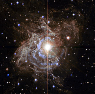 Cepheid star (RS Puppis) imaged by Hubble Space Telescope launched in 1990