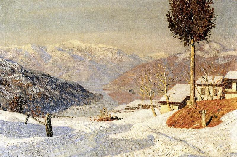 Oreste Albertini, Neve a Besano, anni '30, oil on tablet