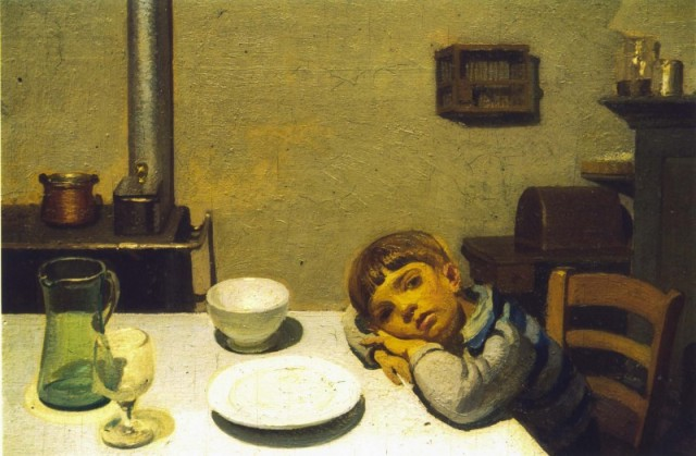 Oreste Albertini, Dopocena a Viconago, 1930, oil on tablet, 40 x 30 cm.