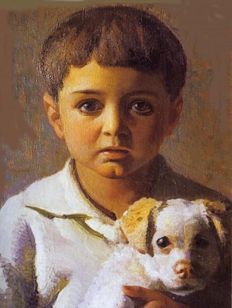 Oreste Albertini, Alberto col cane, 1931-32 oil on tablet, 30 x 38 cm.