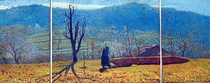 ORESTE ALBERTINI, Prato di Cascina Bizzana, 1923. Oil on tablet, 102 x 47 cm - Tryptic