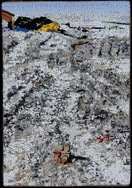 COREY STEIN, Chevac Dump, 2011 Seed beads hand sewn on felt, 13 x 9 inches Courtesy of the artist