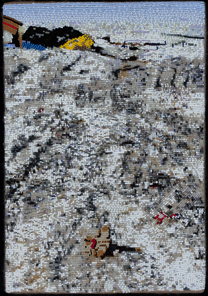 COREY STEIN, Chevac Dump, 2011 Seed beads hand sewn on felt, 13 x 9 inches Courtesy of the artist