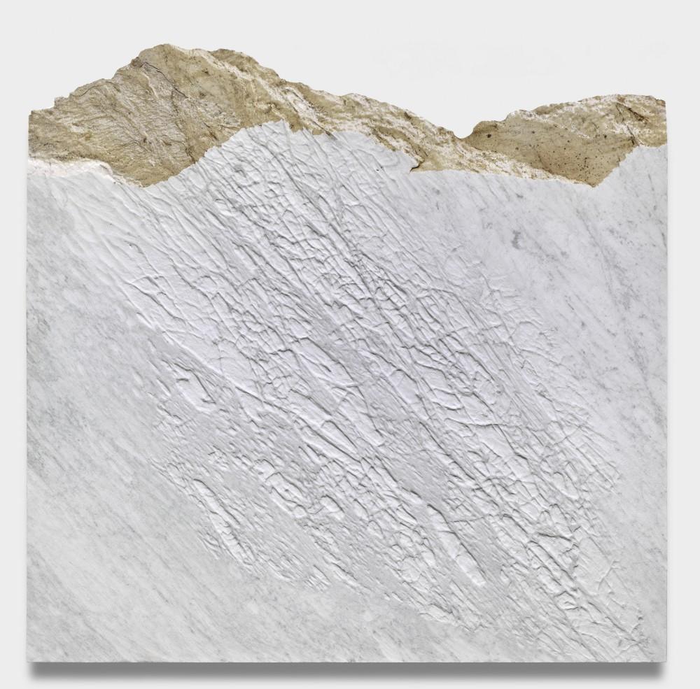 GIUSEPPE PENONE, Pelle del monte, 2012 Carrara marble, 61 x 63 x 2 1/4 inches @ Penone. Courtesy of the artist and Gagosian Gallery. Photo