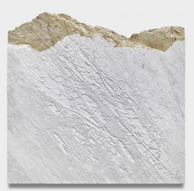 GIUSEPPE PENONE, Pelle del monte, 2012 Carrara marble, 61 x 63 x 2 1/4 inches @ Penone. Courtesy of the artist and Gagosian Gallery. Photo