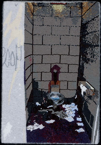 COREY STEIN, Venice Dump, 2011 Seed beads hand sewn on felt, 13 x 9 inches Courtesy of the artist