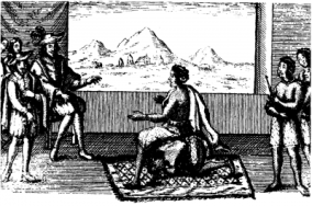 Queen Nzinga in peace negotiations with the Portuguese governor in Luanda, 1657 (from Wikipedia)