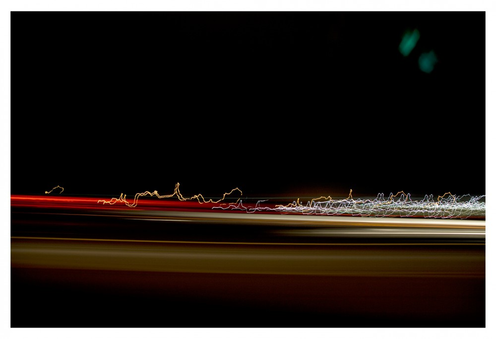 """Fireside Lounge to 41.296111, -105.515000 Looking out the Driver side window, 2013 Inkjet Print  67"""" x 44"""" Courtesy of the artist © JULIE SHAFER"""