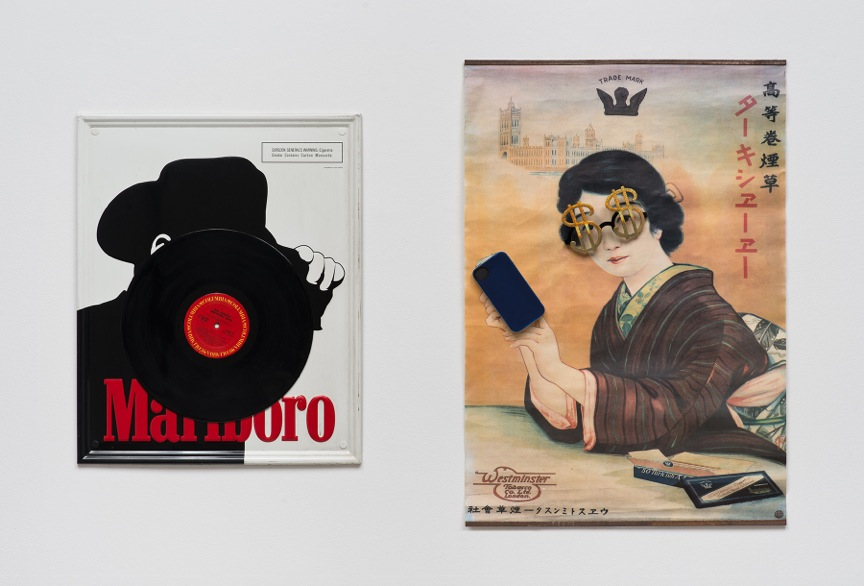 """ALEXIS SMITH, Exporting Western Culture, Exporting Western Values, 2014 Mixed media collages, Two panels: 21"""" x 17"""" and 29"""" x 19"""" Courtesy of Honor Frazer Gallery, Los Angeles"""