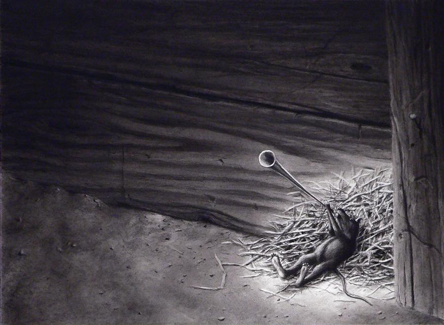 Steve Galloway, TOOT, 2013 Pastel et fusain sur papier, 38 x 28 cm. Courtesy of the artist