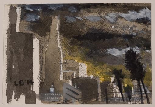 LES BILLER, Rainscape, 2014, Suminik, watercolor, acrylic Courtesy of the artist