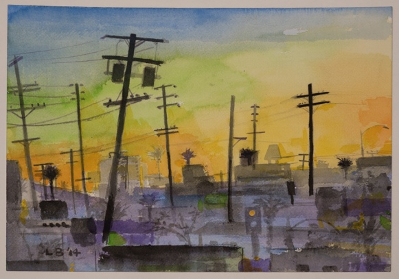 "LES BILLER. Sunset, 2014 watercolor  10 1/4"" x 14 1/4"" Courtesy of the artist"