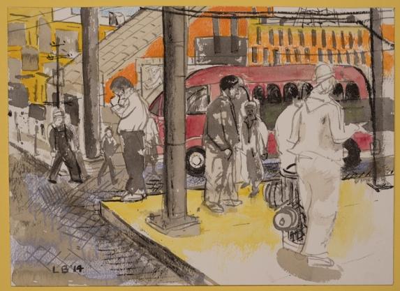 """LES BILLER, Alvarado Corner, 2014, watercolor, ink, crayon  10 1/4"""" x 14 1/4"""" Courtesy of the artist"""
