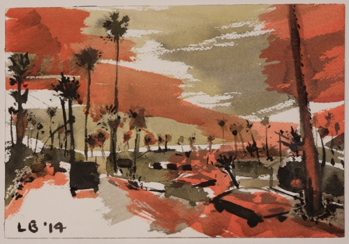 """LES BILLER, South L.A., 2014  Inks   7"""" x 10 1/4"""" Courtesy of the artist"""