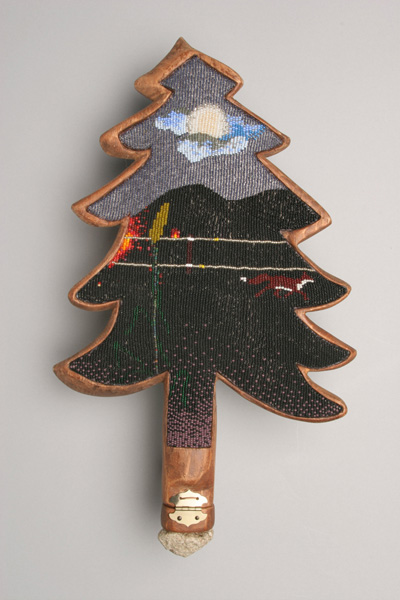 """COREY STEIN,fox on the run 2006 beadwork on wood with stone and matches   11"""" x 16"""" x 2"""" Courtesy of the artist"""