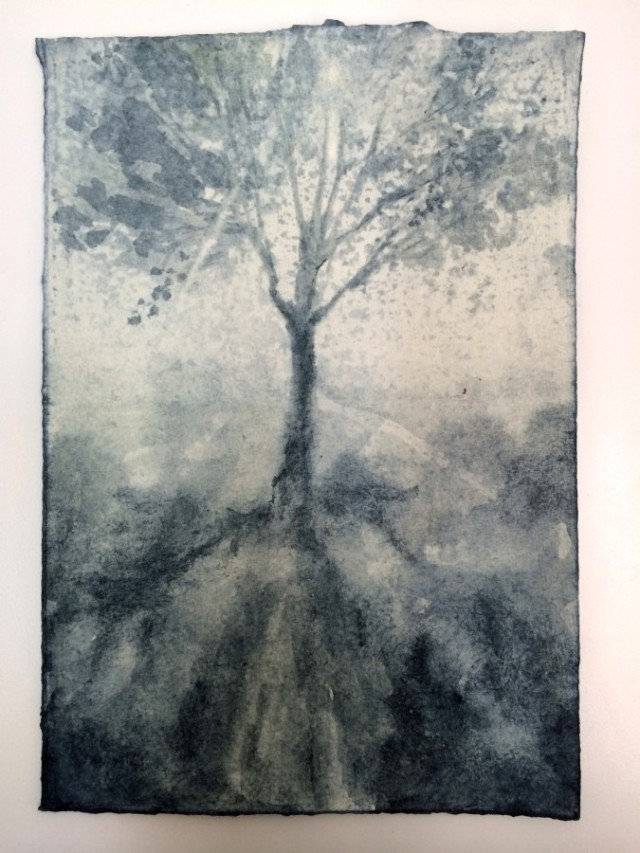 "LUCAS REINER, Fünffensterstrasse  2014  Woad on paper, 10 3/4"" x 7 1/2"" Courtesy of the artist"