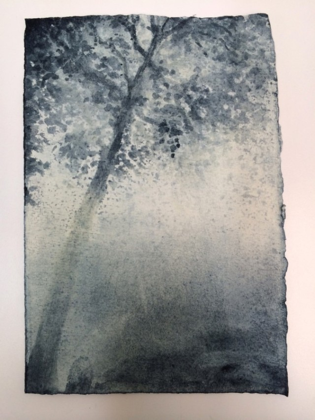 "LUCS REINER, Fünffensterstrasse   2014, Woad on paper, 10 3/4"" x 7 1/2"" Courtesy of the artist"