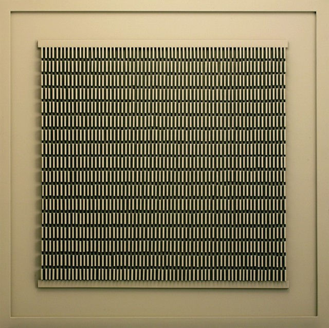 """SHUCHI MEHTA, The Memory Slots  Pigeon holing different events, experiences and feelings in the brain  32"""" x 32"""" x 2""""  MDF and automotive paint on wood Courtesy of the artist"""