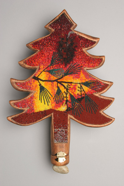 """COREY STEIN, Waltz on the wind    2006 Beadwork on wood with stone & matches   11"""" x 16"""" x 2""""     Courtesy of the artist"""