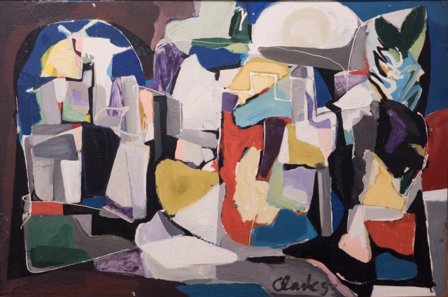 EDWARD CLARK, The City, 1953, oil on canvas. Private collection. Courtesy of The Mistake Room, Los Angeles