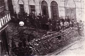 ARGENTINA 1890: Revolution of the Park.  Revolutionary barricade protecting the Buenos Aires Artillery Park.