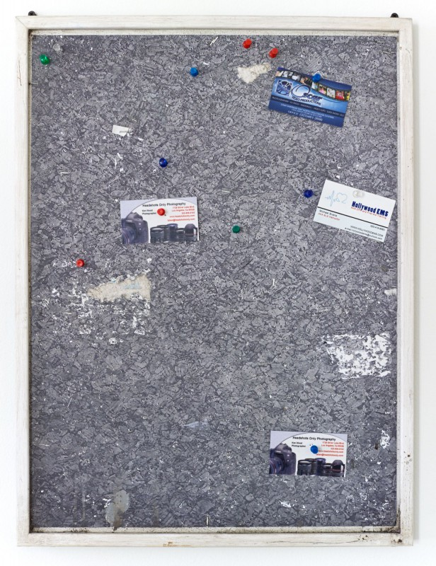 Fiona Connor Community Notice Board (Laundry), 2015 Custom corkboard, paint, silkscreen and UV print on aluminum plates, vinyl, pins, staples 25 x 18 inches 63.5 x 45.7 cm (Inv# FC79)