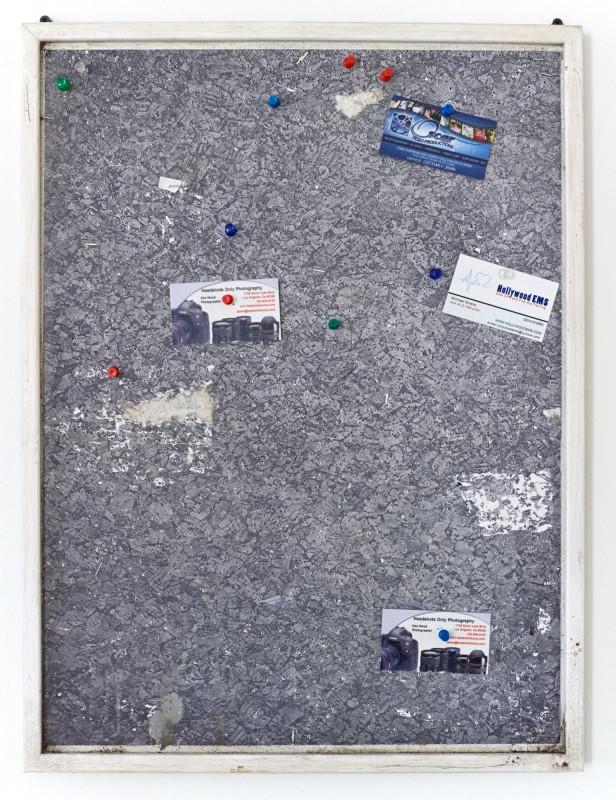 Fiona Connor Community Notice Board (Laundry), 2015 Custom corkboard, paint, silkscreen and UV print on aluminum plates, vinyl, pins, staples 25 x 18 inches 63.5 x 45.7 cm (Inv# FC79)