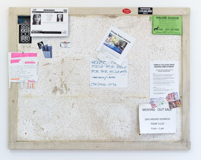 Fiona Connor Community Notice Board (Laurel), 2015 Custom bulletinboard, paint, silkscreen and UV print on aluminum plates and vinyl, pins, staples 41 x 53 inches 104.1 x 134.6 cm (Inv# FC81)