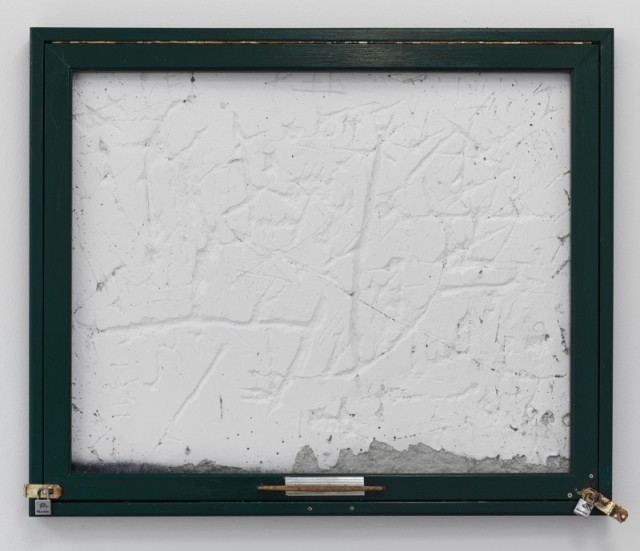Fiona Connor Community Notice Board (Green), 2015 Custom message board, paint, cast aluminum handle, staples 27 x 32 inches 68.6 x 81.3 cm (Inv# FC82)