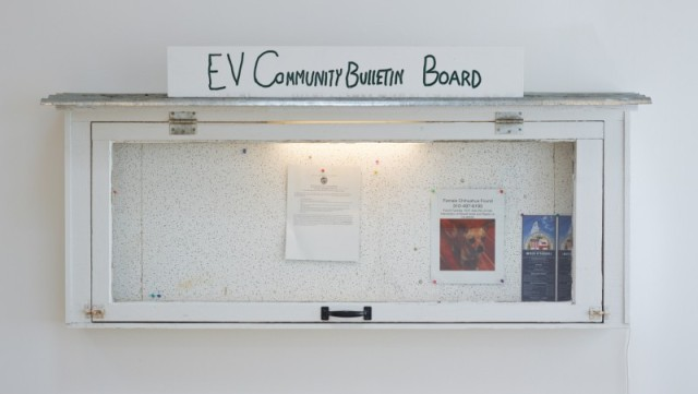 Fiona Connor Community Notice Board (Frogtown), 2015 Custom message center, paint, silkscreen and UV print on aluminum plates, light, pins, staples 32 x 64 x 13 inches 81.3 x 162.6 x 33 cm (Inv# FC85)