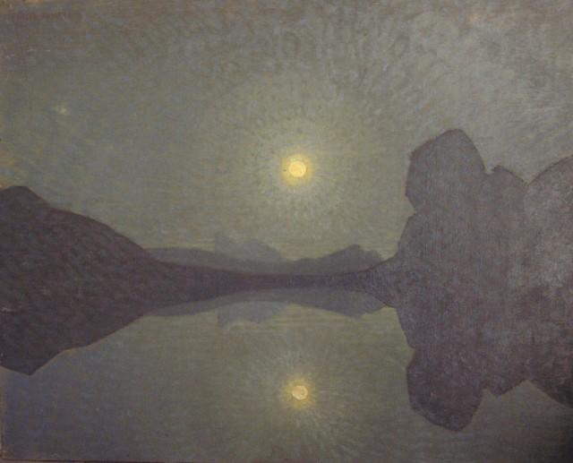 ORESTE ALBERTINI, Lago di Antermoia di notte, 1930-1940