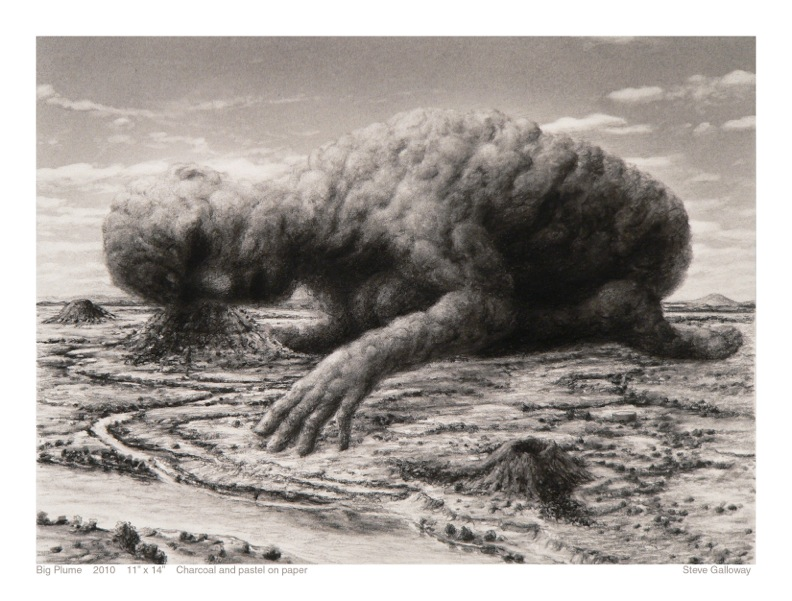 """STEVE GALLOWAY, Big Plume, 2010  11"""" x 14"""" Charcoal on paper Courtesy of the artist"""