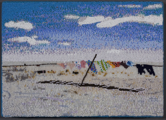 """COREY STEIN, """"Laundry at 10 Degrees""""  2008 Seed beads hand sewn on felt,   9""""x 12""""x 2"""""""