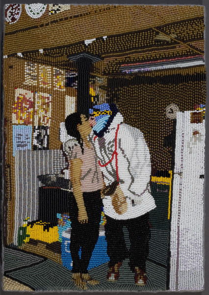 """COREY STEIN, """"Lena and Harry"""" 2008 Seed beads hand sewn on felt,  11-1/2"""" x 8""""x 2"""" Courtesy of the artist"""