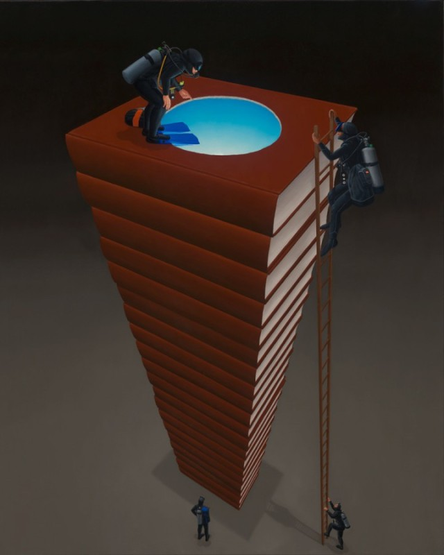 "STEVE GALLOWAY,  Stack, 2012, 50"" x 40""  Oil on canvas Courtesy of the artist"