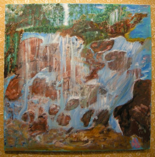 JANET LAING, Waterfall, 2014 (?)  oil on canvas Courtesy of 137ac