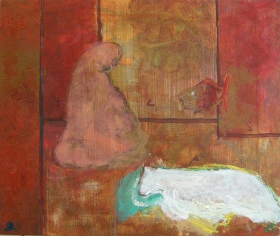 "RICHARD LAU, Meditation, 2014, Oil on Canvas, 26"" x 31"" Courtesy of 137ac"