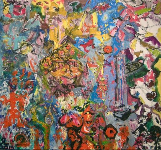 "RICHARD LAU, Bumpster, 2015, Oil on canvas, 28"" x 30"" Courtesy of 137ac"