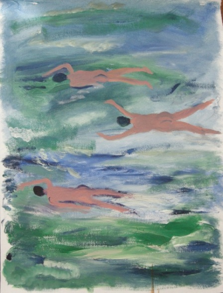 JANET LAING, Swimmers, 2014, oil on canvas  24