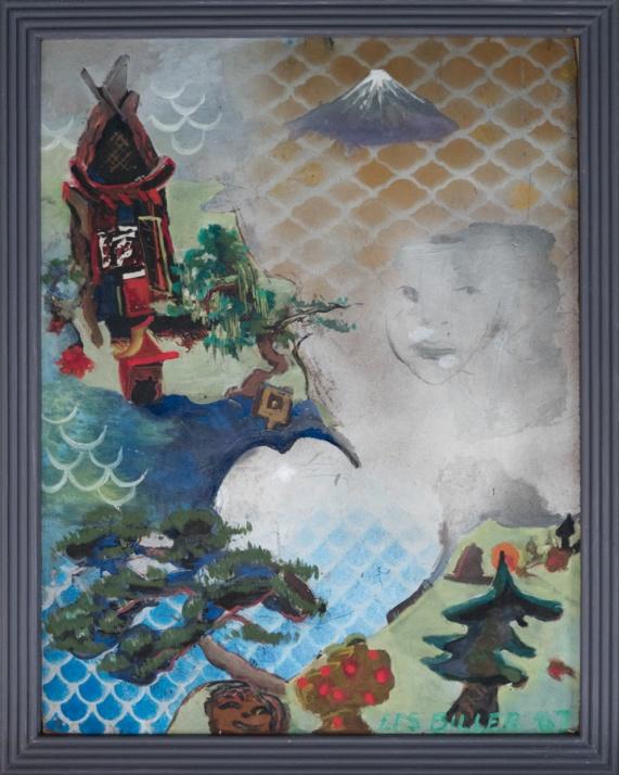 "LES BILLER, Fuji, Shrine, Face in Cloud, 1967, 28"" x 22""  Oil, enamel, pencil on wood Courtesy of the artist and Rosamund Felsen Gallery"