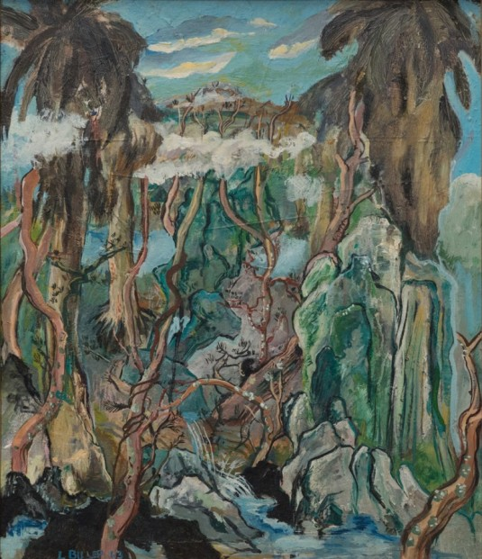 """LES BILLER, Chinese Nature in Southern California, 1963 24"""" x 20""""  Oil Courtesy of the artist and Rosamund Felsen Gallery"""