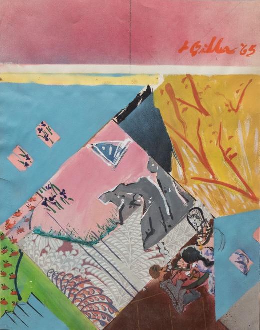 LES BILLER, Diamond Garden, 1965, Acrylic, enamel, collage/paper Courtesy of the artist and Rosamund Felsen Gallery
