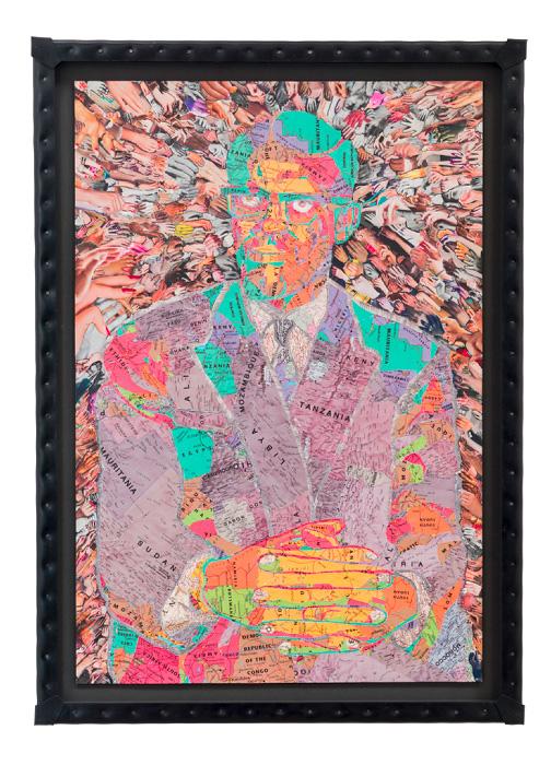 C.K.WILDE, Patrice Lumumba. 2015 Collage of paper ephemera on museum board, nailed rubber frame 45 3/8 x 32 1/2