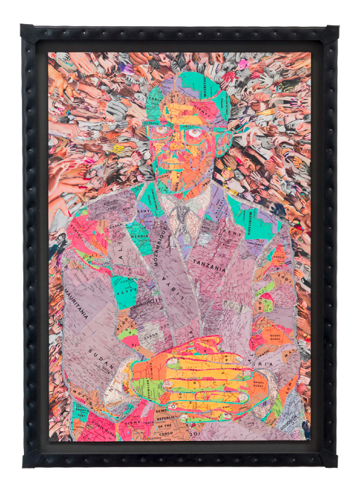 C.K.WILDE, Patrice Lumumba. 2015 Collage of paper ephemera on museum board, nailed rubber frame 45 3/8 x 32 1/2