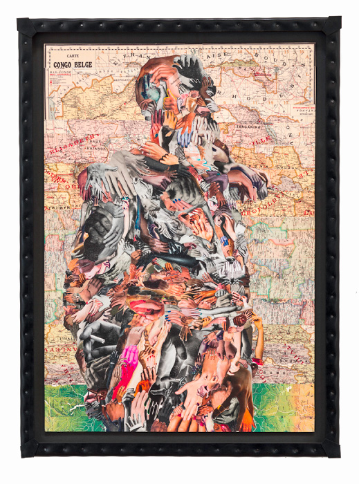 C.K.WILDE, Leopold II. 2015 Collage of paper ephemera on museum board, nailed rubber frame 45 1/4 x 33