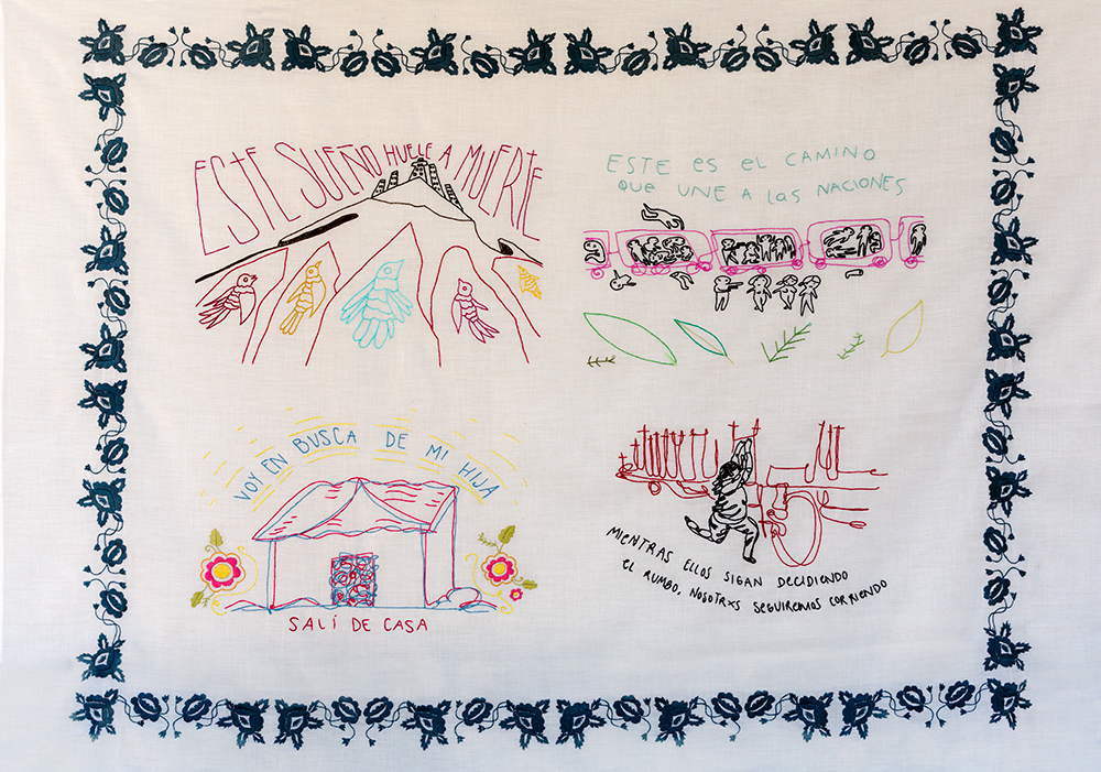 MARIANA GRAPAIN and JOSUE VASQUEZ PERALTA, This Dream, Smells of Death, in collaboration with Ethel Davila Calleja, Mary Davila, Dulce Davila y Rebeca Quiroga. embroidery on cotton