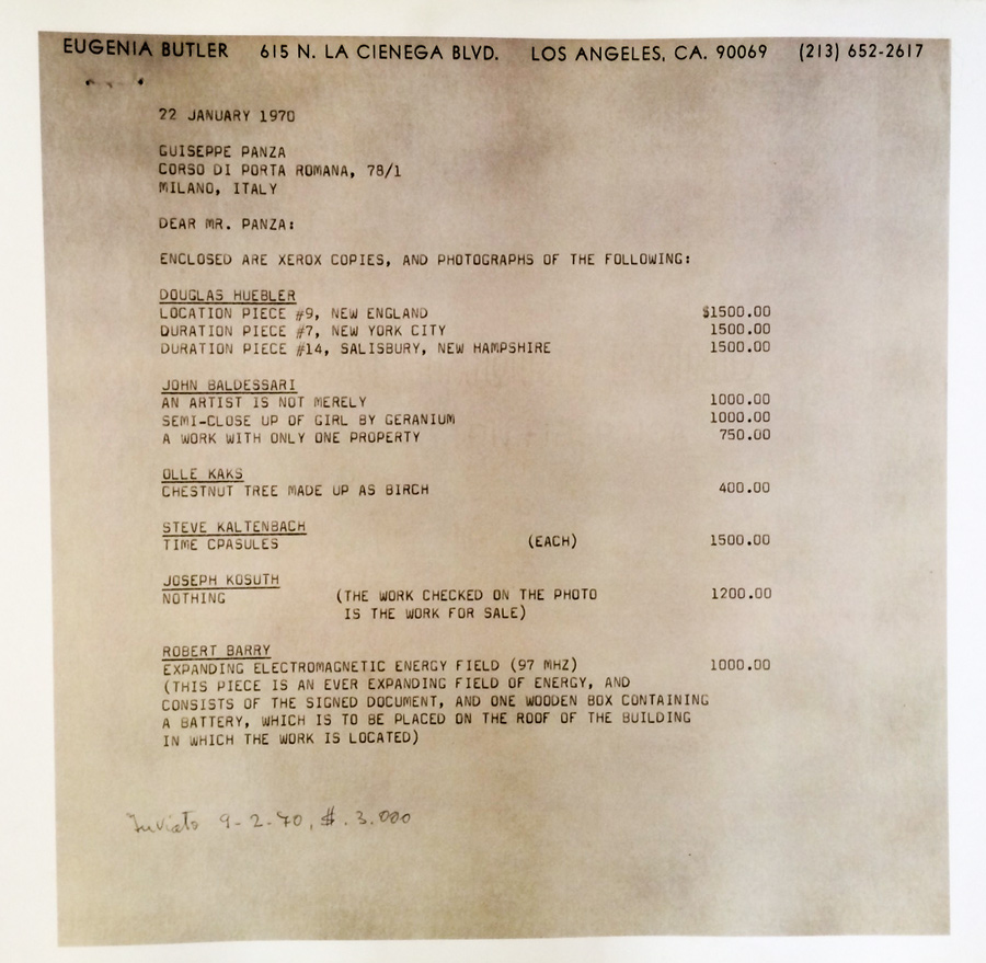 EUGENIA BUTLER (Corazon Del Sol grandmother) Letter to Giuseppe Panza, January  22, 1970. Courtesy of Corazon Del Sol